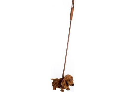 Teddies Jezevčík hrající chodící 30cm