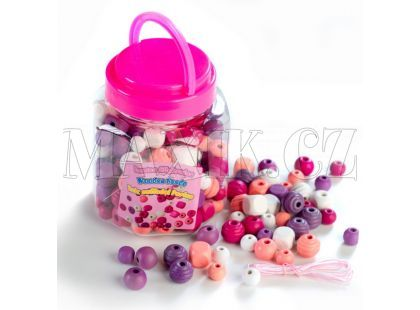 Teddies Korálky dřevěné - Růžové a fialové