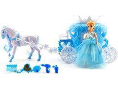 Teddies Kůň s kočárem a panenkou s doplňky plast 40cm v krabici