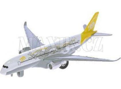 Teddies Letadlo dopravní 19 cm na natažení se zvukem a světlem - Žlutá