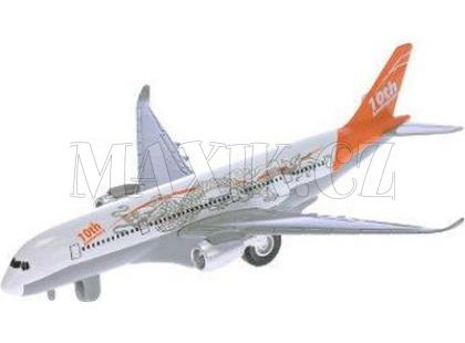 Teddies Letadlo dopravní 19 cm na natažení se zvukem a světlem - Oranžová