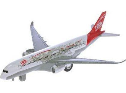 Teddies Letadlo dopravní 19 cm na natažení se zvukem a světlem - Červená