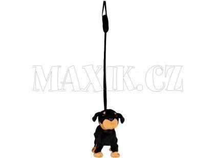 Teddies Pes na tyčce 25cm - Černý dobrman