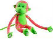 Teddies Plyšová opice svítící ve tmě růžovo zelená 33 cm