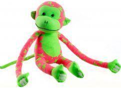 Teddies Plyšová opice svítící ve tmě růžovo zelená