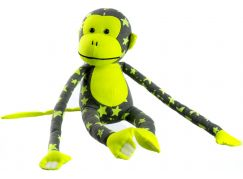 Teddies Plyšová opice svítící ve tmě šedo žlutá 33 cm