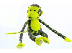 Teddies Plyšová opice svítící ve tmě šedo žlutá