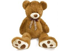 Teddies Plyšový medvěd s mašlí 130cm hnědý