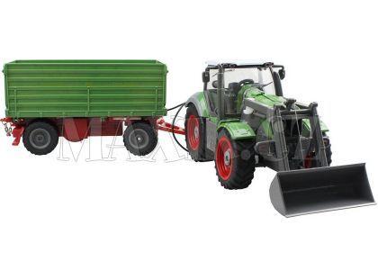 Teddies RC Traktor s nakladačem a vlečkou 1:28