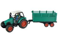 Teddies Traktor s vlečkou na setrvačník - Zelená