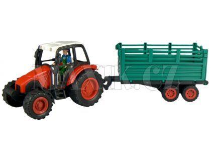Teddies Traktor s vlečkou na setrvačník - Červená