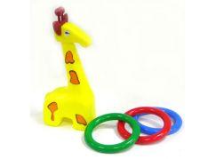 Teddies Žirafa plast 33cm s kroužky od 18 měsíců