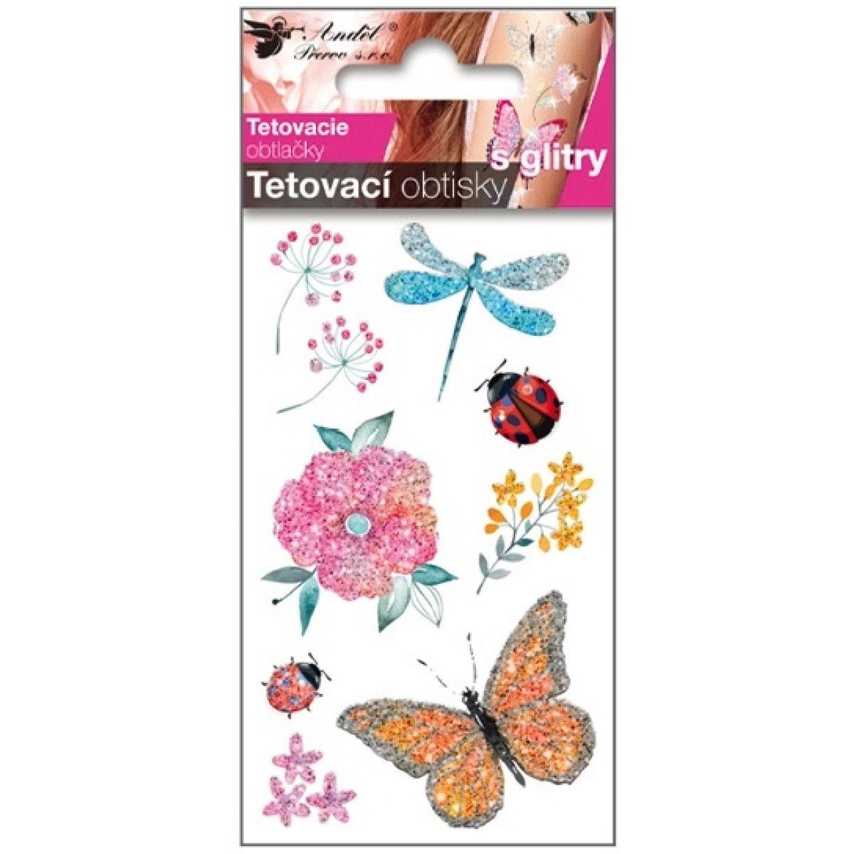 Tetovací obtisky s glitry 10,5x6 cm- s vážkou