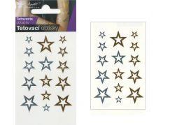 Tetovací obtisky zlaté a stříbrné 10,5x6 cm- hvězdy