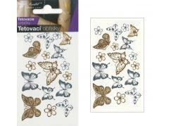 Tetovací obtisky zlaté a stříbrné 10,5x6 cm- motýli