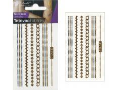 Tetovací obtisky zlaté a stříbrné 10,5x6 cm- řetízky