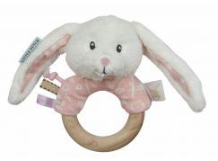 Tiamo Chrastící zajíček s dřevěným kroužkem Pink