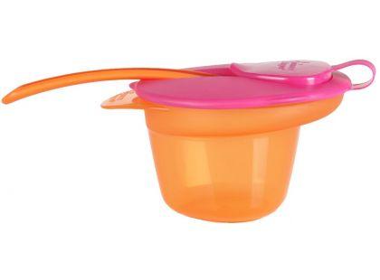 Tommee Tippee Explora Miska s víčkem a lžičkou - Oranžovo-růžová
