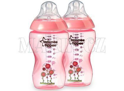 Tommee Tippee Kojenecká láhev s obrázky 2x340ml - Růžová