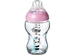 Tommee Tippee Kojenecká láhev C2N 250ml skleněná potisk Pink