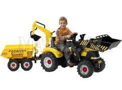 Falk Šlapací traktor žlutý s dvoukolovým valníkem a přední i zadní lžící