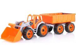 Traktor-nakladač-bagr s vlekem se lžící plast na volný chod oranžová vlečka