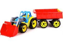 Traktor-nakladač-bagr s vlekem se lžící plast na volný chod červená vlečka