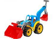 Traktor-nakladač-bagr se 2 lžícemi plast na volný chod modrý