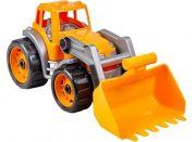 Traktor-nakladač-bagr se lžící plast na volný chod oranžový