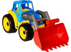 Traktor-nakladač-bagr se lžící plast na volný chod modrý