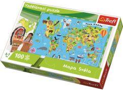 Trefl Vzdělávací puzzle mapa světa 100 dílků