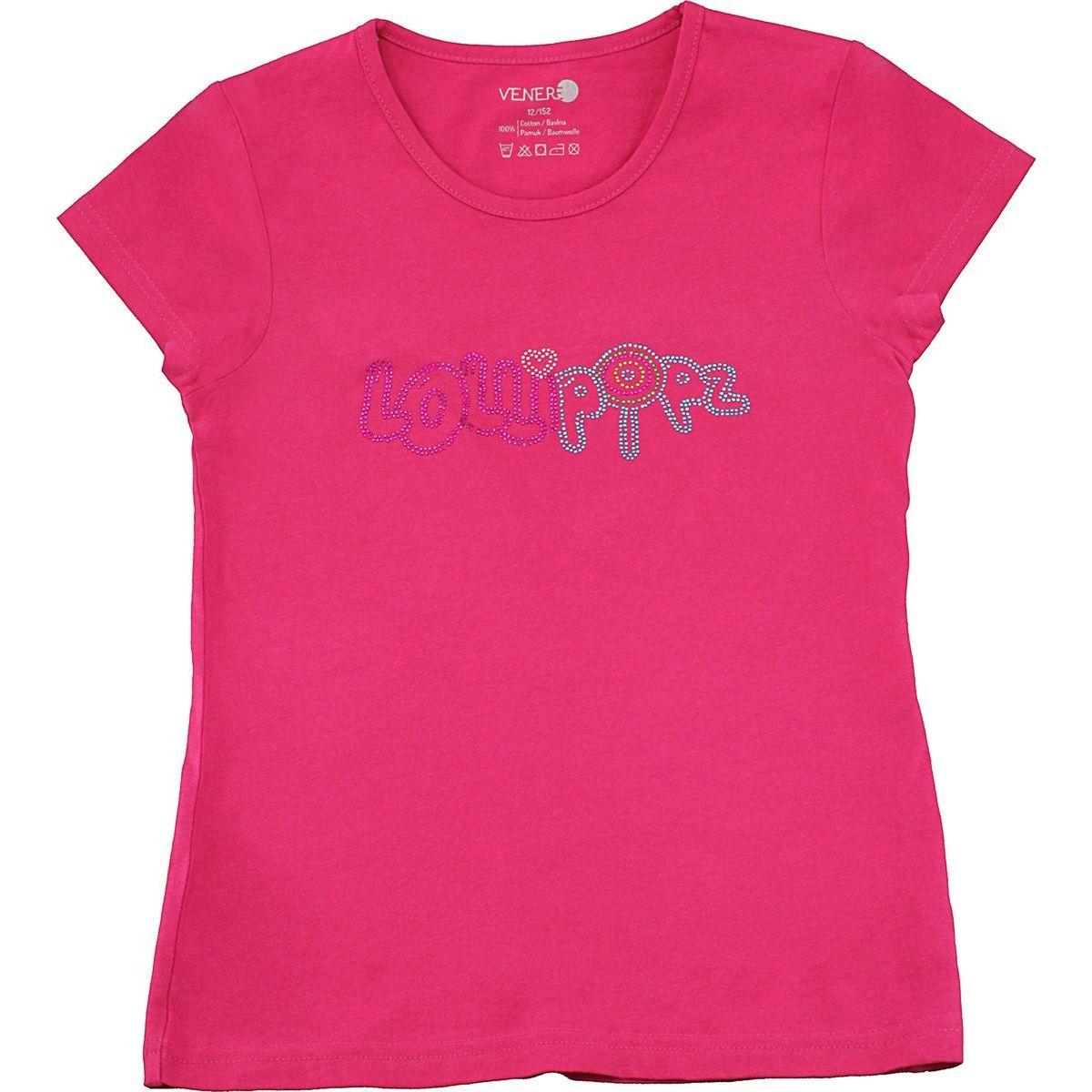 Tričko Lollipopz s kamínkovou aplikací růžové, velikost 140 cm (10 let)