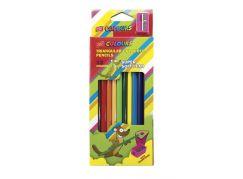 Trojhranné pastelky 12 ks s ořezávátkem nelámavé