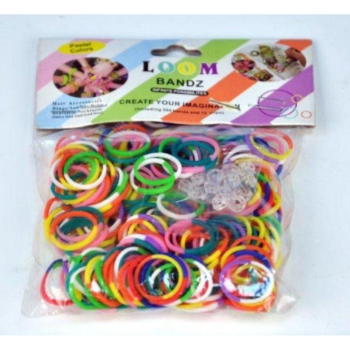 Udělej si svůj náramek - gumičky 300ks dvoubarevné duhové