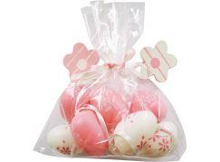 Vajíčka plastová růžová na zavěšení 4 cm 8 ks