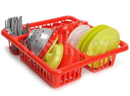 Velký odkapávač s nádobím 30 cm - Červená