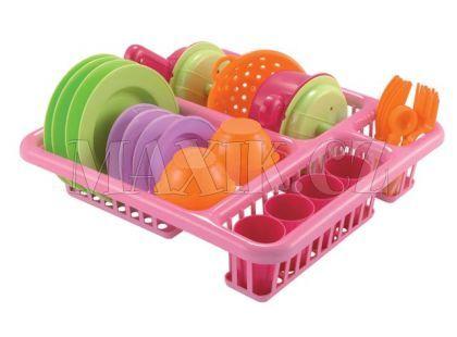 Velký odkapávač s nádobím 30 cm - Růžová