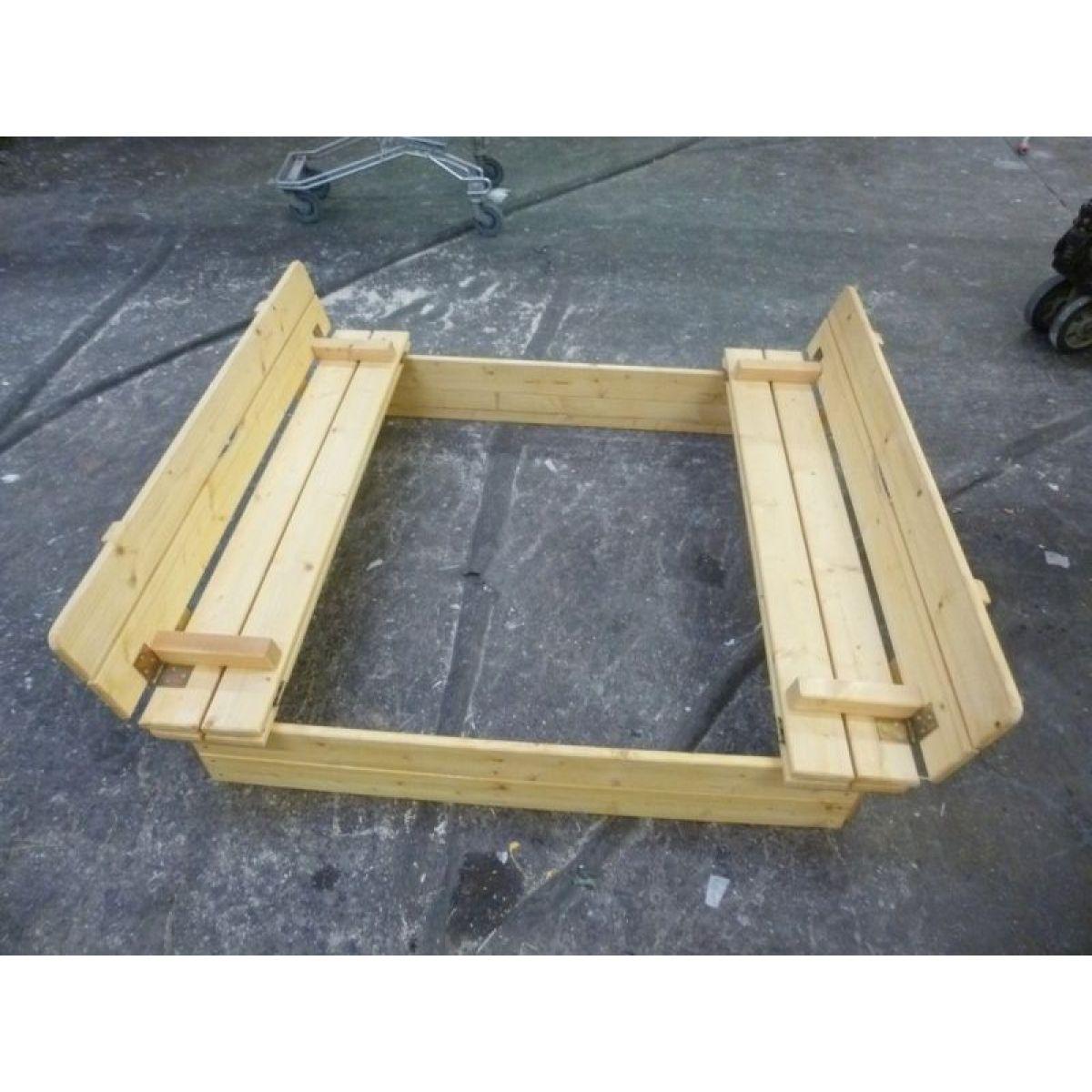 Vladeko dřevěné pískoviště s deklem a lavičkami