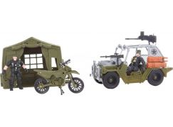 Vojenská sada se stanem, džípem, motorkou a vojáčkem