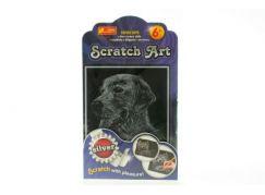 Vyškrabovací obrázek stříbrný - pes