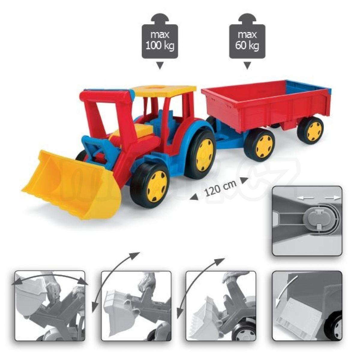 Wader gigant traktor s nakladačem a vlekem maxíkovy hračky