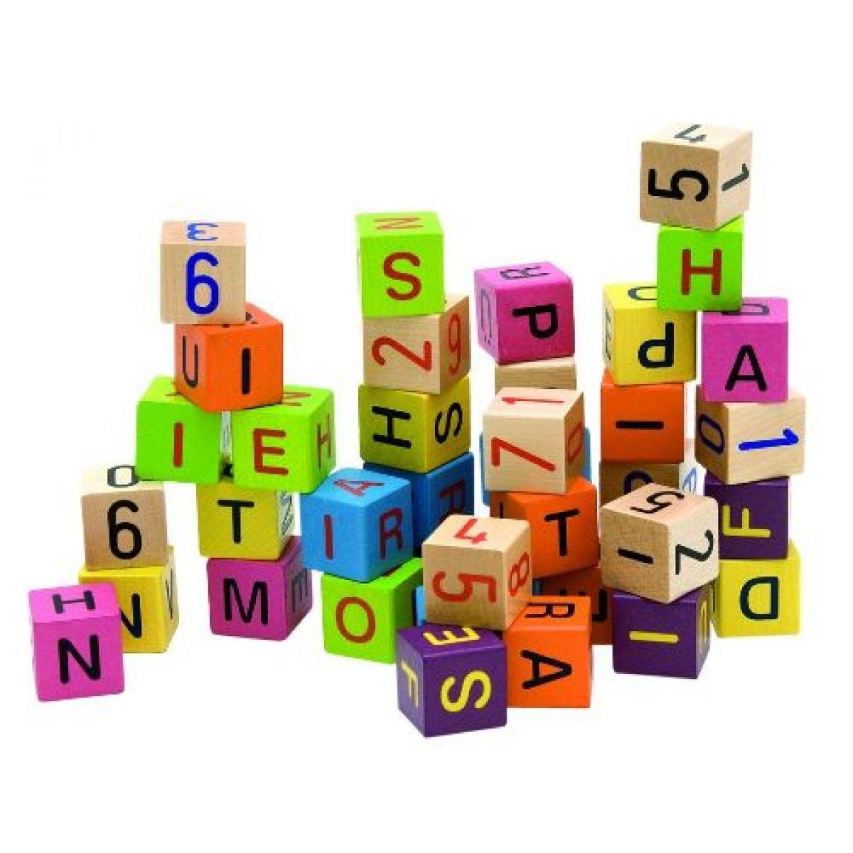 Woody Dřevěné barevné kostky s písmeny a čísly 40ks