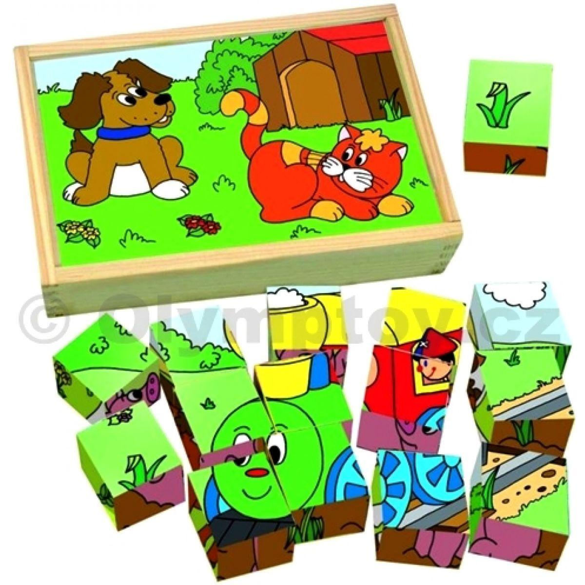Woody Dřevěné kostky 3x5 Mašinka