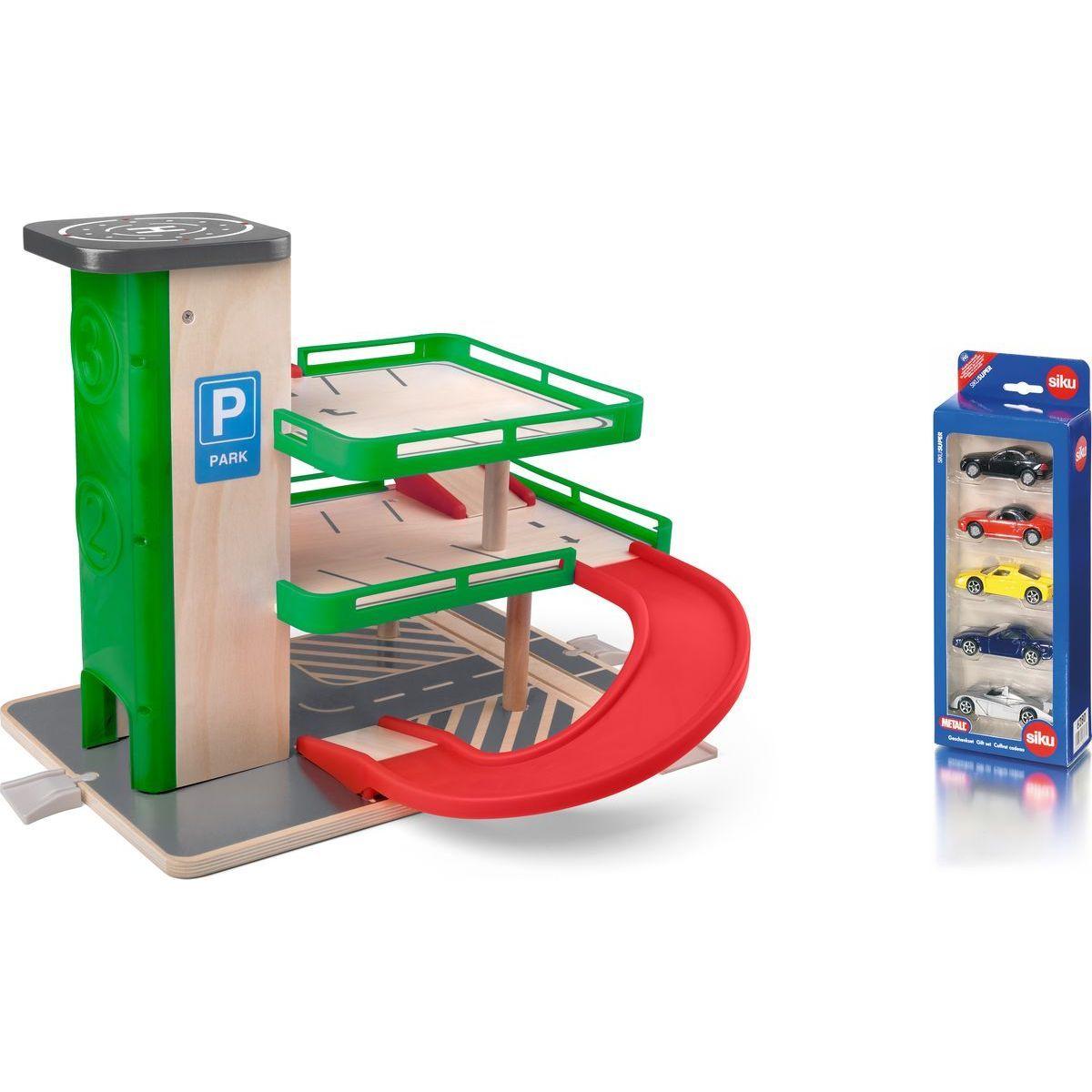 Woody Garáž s výtahem a SIKU autíčky dřevo a plast - Poškozený obal