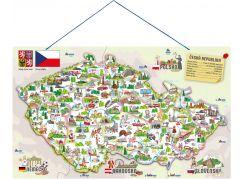 Woody Magnetická mapa ČR s obrázky a společenská hra, 3 v 1