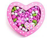 Woody Navlékací korálky Malé srdíčko růžové