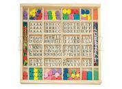 Woody Navlékací perle v dřevěné krabici ABC a tvary