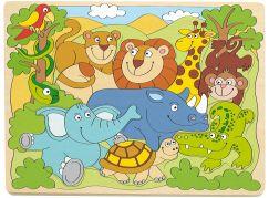 Woody Puzzle na desce Africká veselá zvířátka