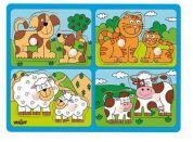 Woody Puzzle pro nejmenší s úchyty domácí zvířata s mláďaty
