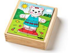 Woody Puzzle šatní skříň Kočička 18 dílů